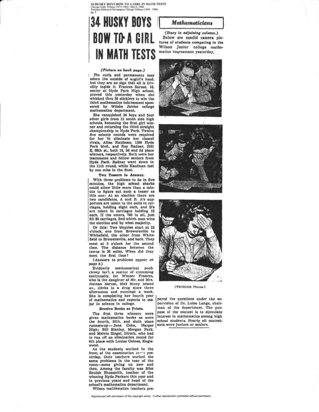 Fran Math Article 1944